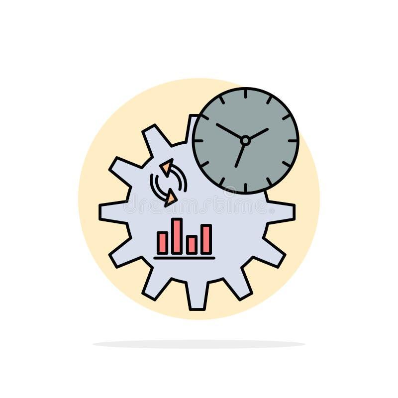 Geschäft, Technik, Management, Prozess flacher Farbikonen-Vektor lizenzfreie abbildung