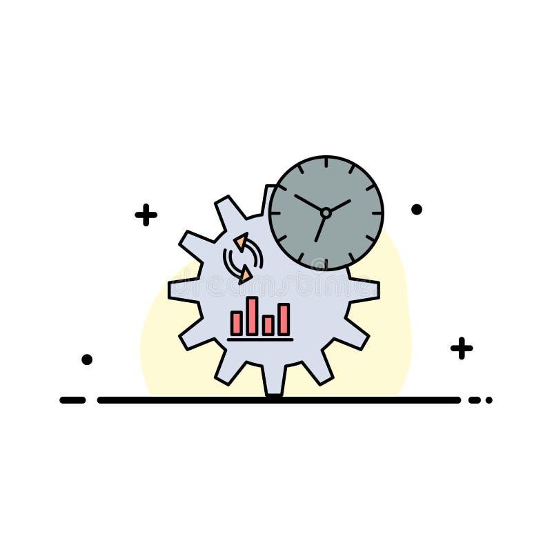 Geschäft, Technik, Management, Prozess flacher Farbikonen-Vektor vektor abbildung