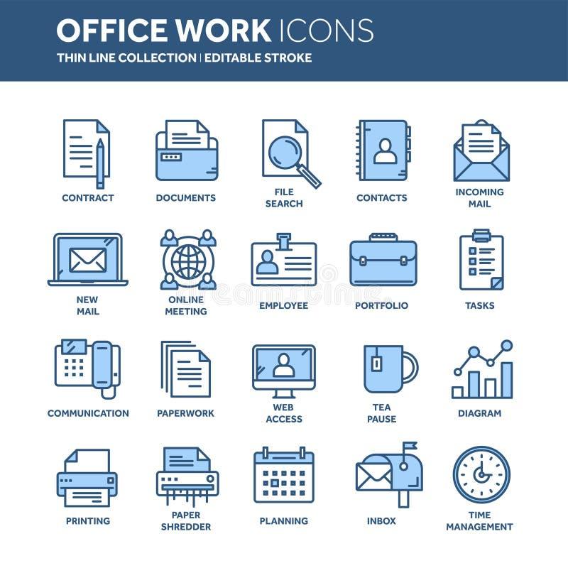 Geschäft und Büroarbeit Dokumente, Schreibarbeit Geschäftsmann Dünne Linie blauer Netzikonensatz Entwurfsikonensammlung lizenzfreie abbildung