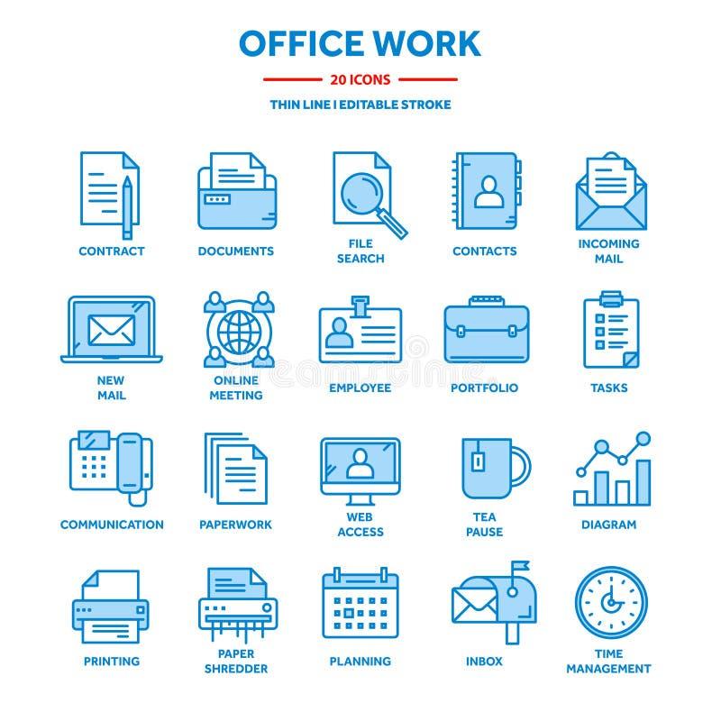 Geschäft und Büroarbeit Dokumente, Schreibarbeit Geschäftsmann Dünne Linie blauer Netzikonensatz Entwurfsikonensammlung stock abbildung
