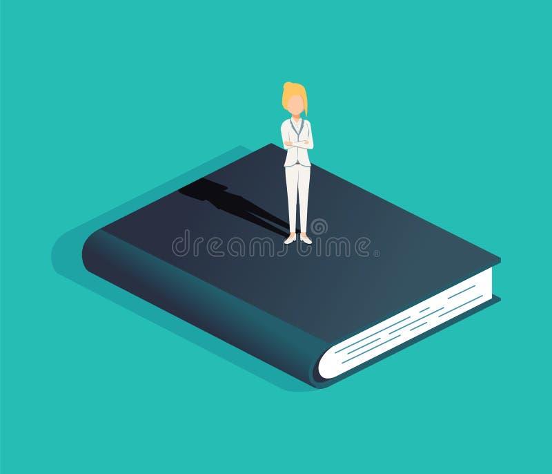 Geschäft und Bildung vector Konzept mit der Geschäftsfrau, die auf einem Buch steht Symbol der Karrieregelegenheit stock abbildung