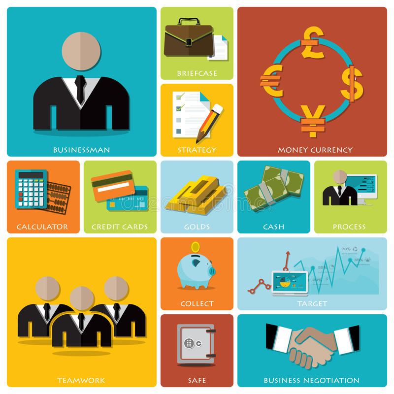 Geschäft und flacher Ikonen-finanziellsatz vektor abbildung