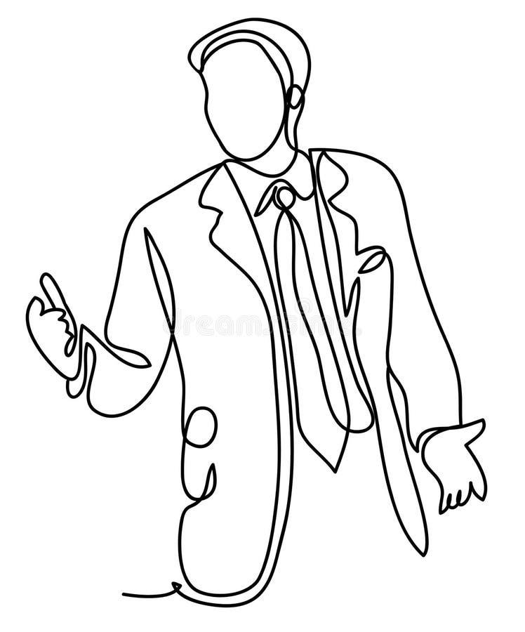 Geschäft und Leutekonzept - Geschäftsmann auf Darstellung im Büro Ununterbrochenes Federzeichnung Lokalisiert auf dem Weiß vektor abbildung