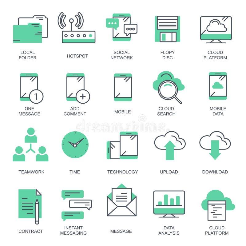 Geschäft und Marketing, programmierend, Datenverwaltung, Internetanschluss, Soziales Netz und rechnen, Informationen vektor abbildung