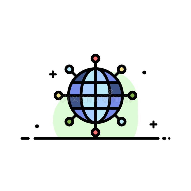 Geschäft, Verbindungen, globales, modernes Geschäfts-flache Linie füllte Ikonen-Vektor-Fahnen-Schablone lizenzfreie abbildung