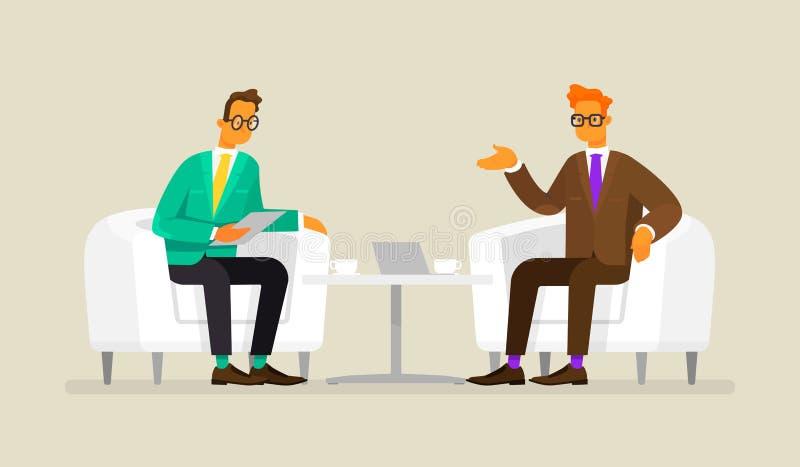 Geschäft Verhandlung Männer sitzen in den Lehnsesseln und besprechen Arbeit und die Zusammenarbeit Auch im corel abgehobenen Betr vektor abbildung