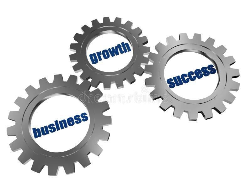 Geschäft, Wachstum und Erfolg in den Zahnrädern des silbernen Graus vektor abbildung