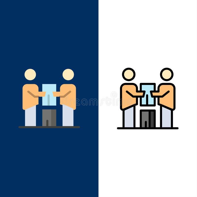 Geschäft, Zusammenarbeit, Partner, Partnerschaft, Team Icons Ebene und Linie gefüllte Ikone stellten Vektor-blauen Hintergrund ei stock abbildung