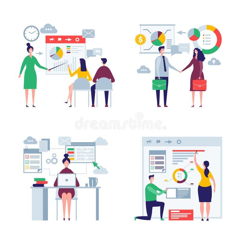 Geschäftsüberformatvölker Mann und flache Charaktere des weiblichen Bürovorsteher-Direktornarbeitskraftgeschäftsteamvektors vektor abbildung