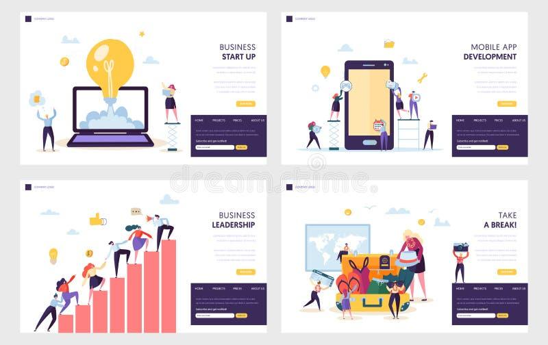 Geschäfts-Anfang, der oben Seiten-Satz landet Bewegliche App-Entwicklung, Führungs-praktische Fähigkeit für Führer-Team, Ferien n lizenzfreie abbildung