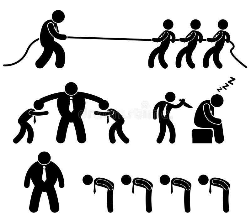 Geschäfts-Arbeitskraft-kämpfendes Piktogramm lizenzfreie abbildung
