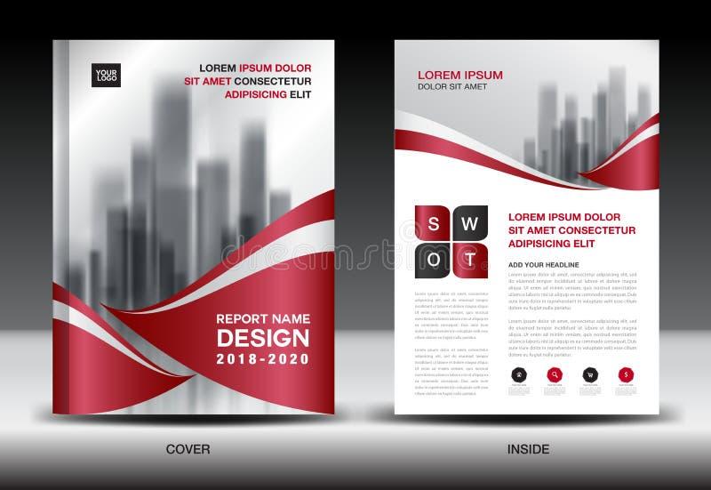 Geschäfts-Broschürenflieger templater, rotes Abdeckungsdesign vektor abbildung