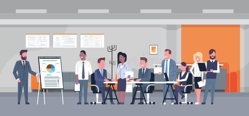 Geschäfts-Darstellungs-Konzept-Team Brainstorming Group Of Businesspeople-Fachleute, die Bericht herein besprechend sich treffen vektor abbildung
