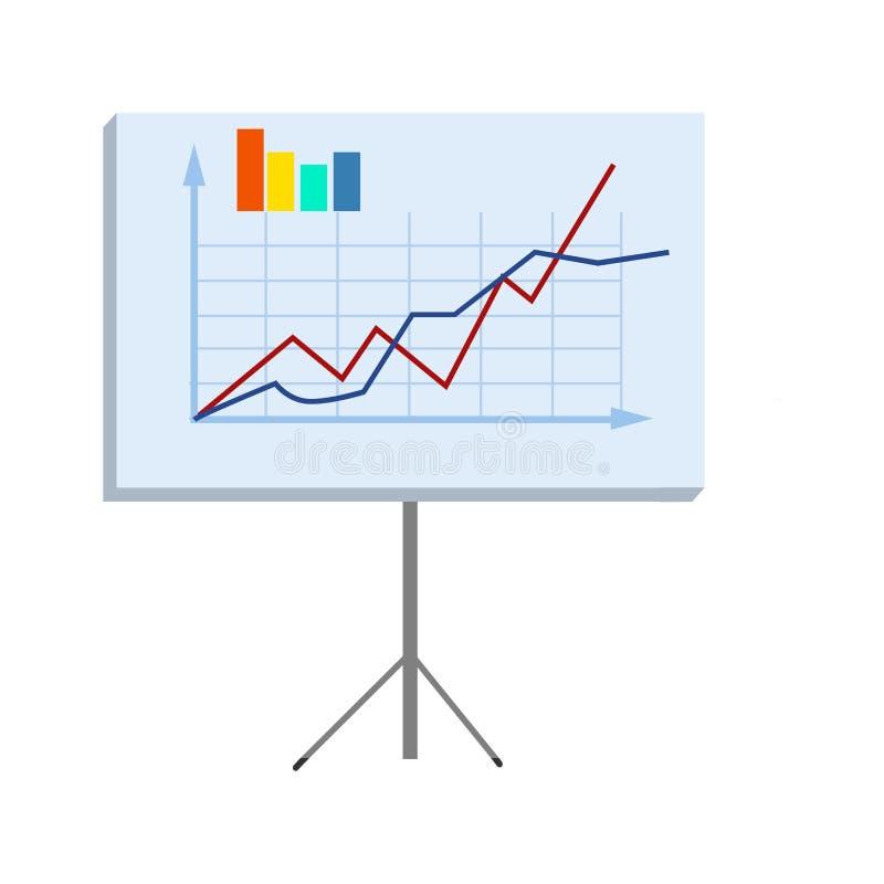 Geschäfts-Diagramm auf Stand lokalisierter Illustration stock abbildung