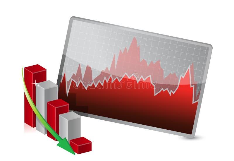 Geschäfts-Diagramm mit den Aktien, die Verluste zeigen vektor abbildung