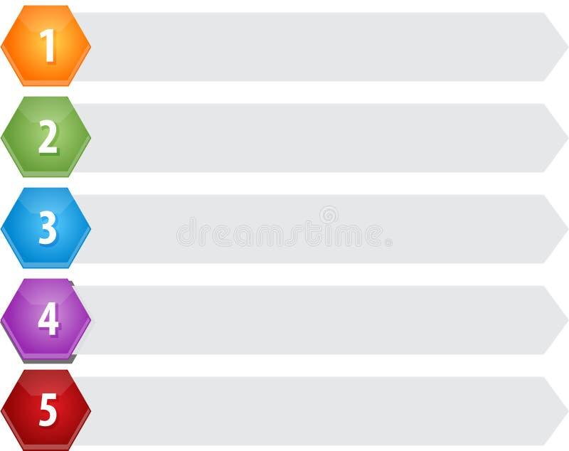 Geschäfts-Diagrammillustration der Hexagon-Einzelteile fünf leere lizenzfreie abbildung