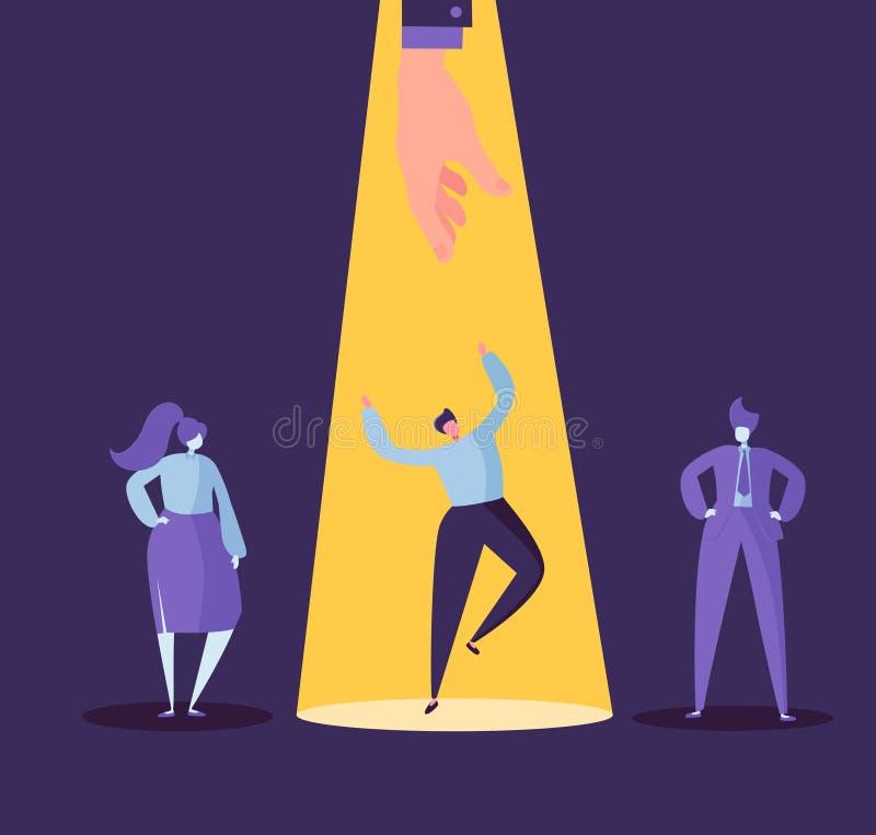 Geschäfts-Einstellungs-Konzept mit flachen Charakteren Arbeitgeber, der Mann von der Gruppe von Personen wählt Einstellung, Perso vektor abbildung