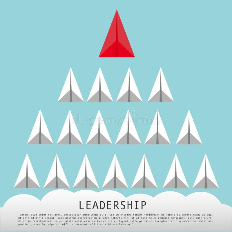 Geschäfts-Führungs-Konzept mit roten flachen führenden weißen Papierflugzeugen stock abbildung