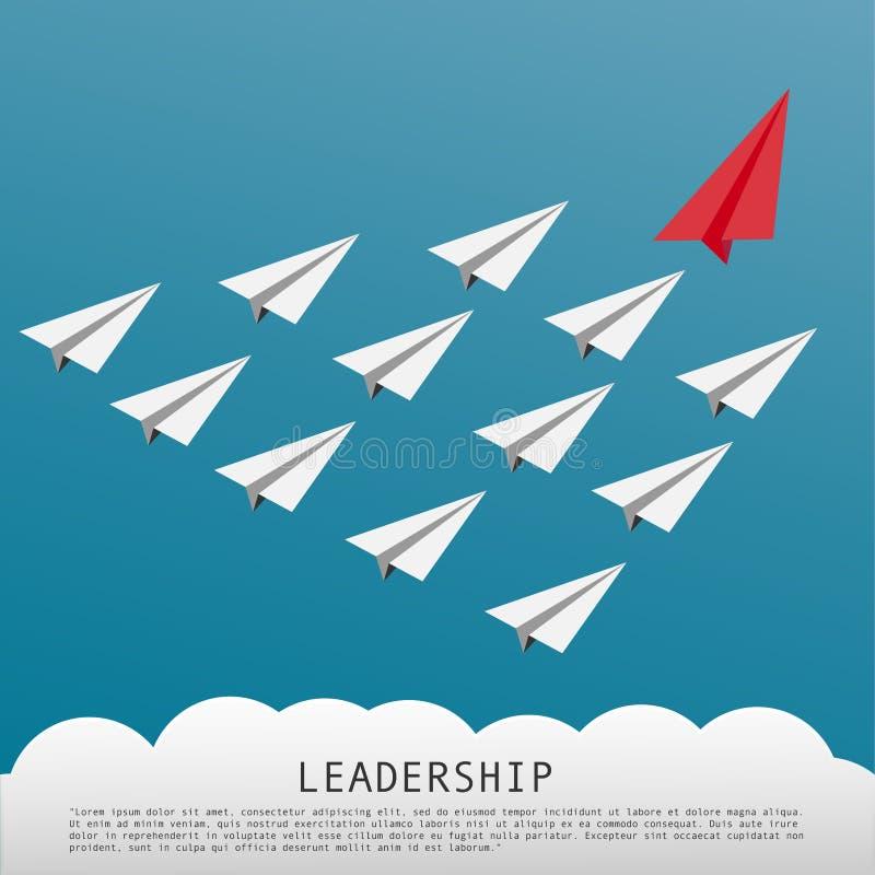 Geschäfts-Führungs-Konzept mit roten flachen führenden weißen Papierflugzeugen vektor abbildung
