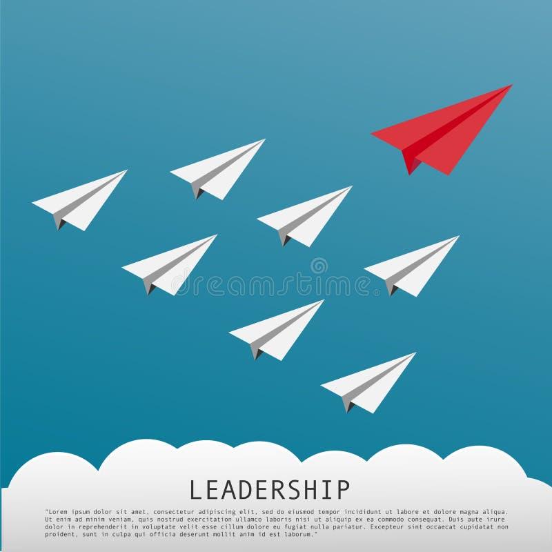 Geschäfts-Führungs-Konzept mit roten flachen führenden weißen Papierflugzeugen lizenzfreie abbildung