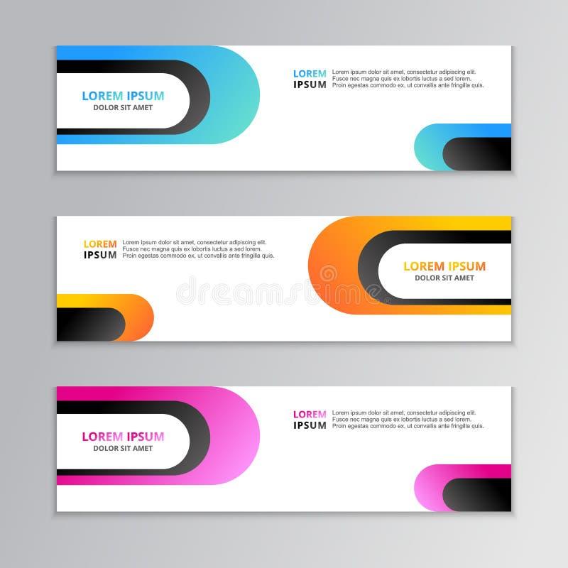 Geschäfts-Fahnen-Schablone, Plan-Hintergrund-Entwurf, korporativer geometrischer Netztitel oder Seitenende in der Steigungsfarbe lizenzfreie abbildung