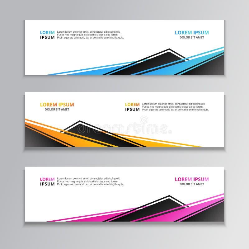 Geschäfts-Fahnen-Schablone, Plan-Hintergrund-Entwurf, korporativer geometrischer Netztitel oder Seitenende in der Steigungsfarbe vektor abbildung