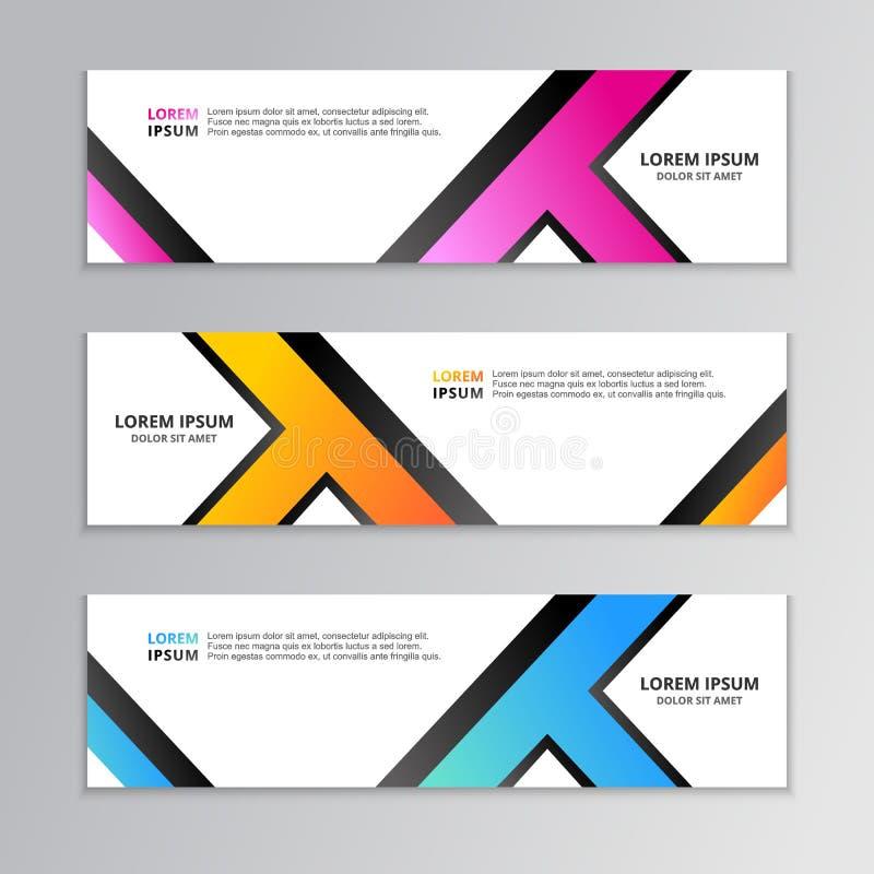 Geschäfts-Fahnen-Schablone, Plan-Hintergrund-Entwurf, korporativer geometrischer Netztitel oder Seitenende in der Steigungsfarbe stock abbildung