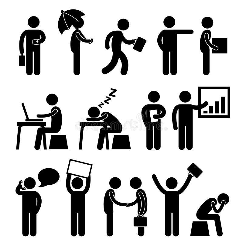 Geschäfts-Finanzbüro-Arbeitsplatz-Leute-Mann-Arbeit stock abbildung
