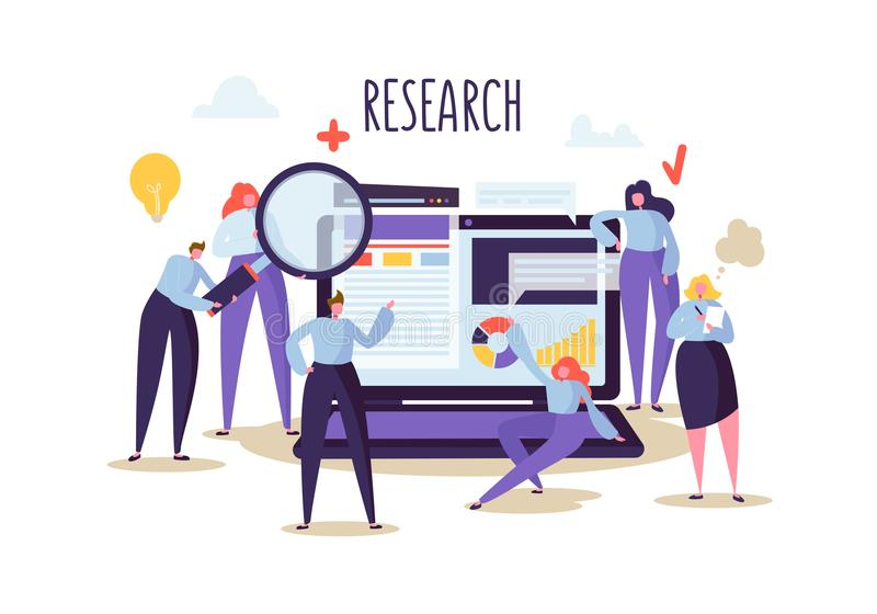 Geschäfts-Forschung und Analyse-Konzept Flache Charakter-Leute mit Laptop Teamwork-Innovations-Finanzstrategie lizenzfreie abbildung