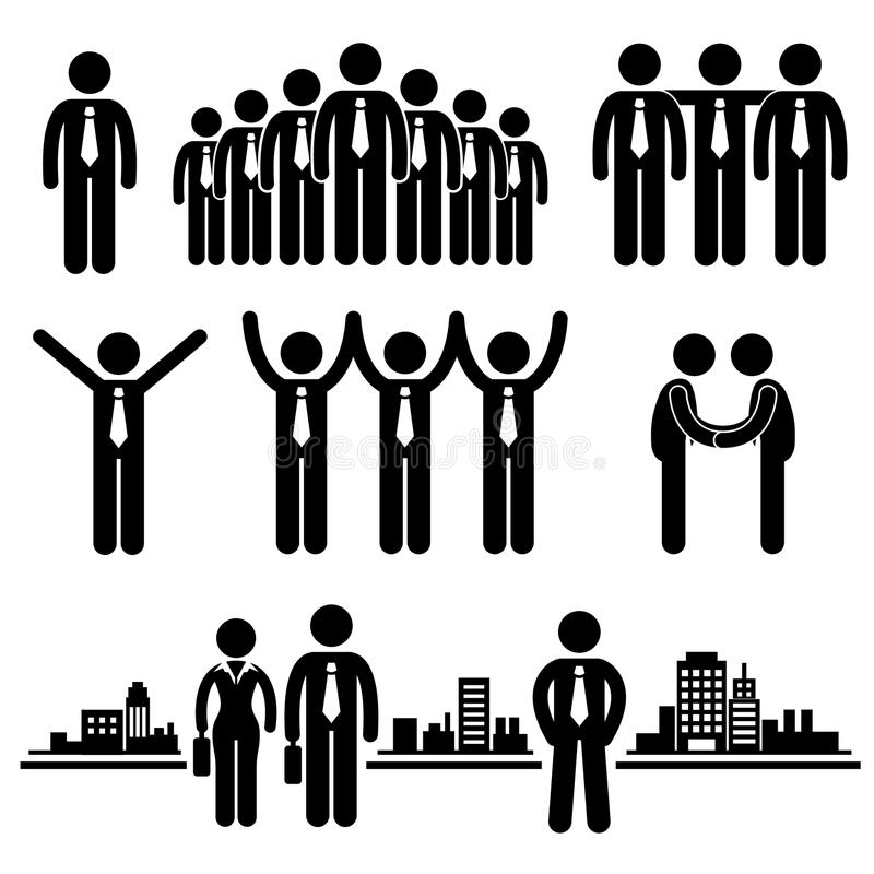 Geschäfts-Geschäftsmann-Gruppen-Arbeitskraft-Piktogramm Stockfoto