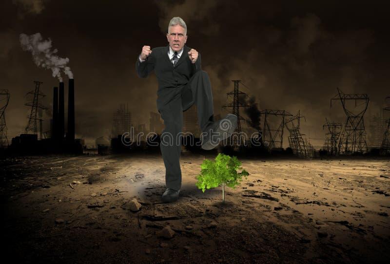 Geschäfts-Habsucht, Gewinn, globale Erwärmung, Verschmutzung lizenzfreies stockfoto
