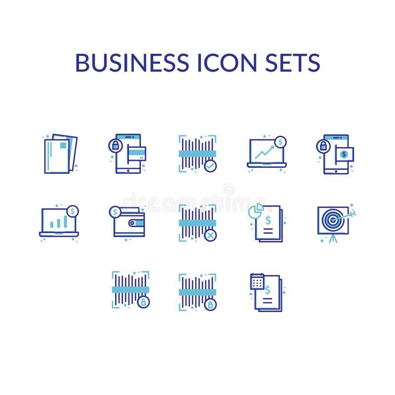 Geschäfts-Ikone stellt Entwurfs-Linie ein stock abbildung