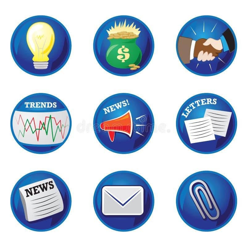 Geschäfts-Ikonen - glänzend, blau vektor abbildung