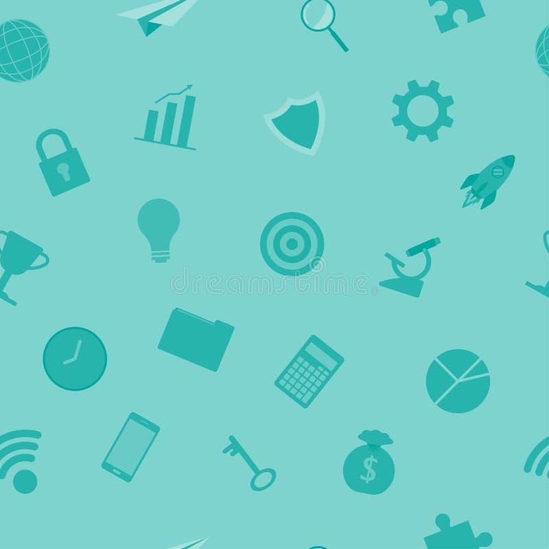 Geschäfts-Ikonen-hellblaues nahtloses Muster lizenzfreie abbildung