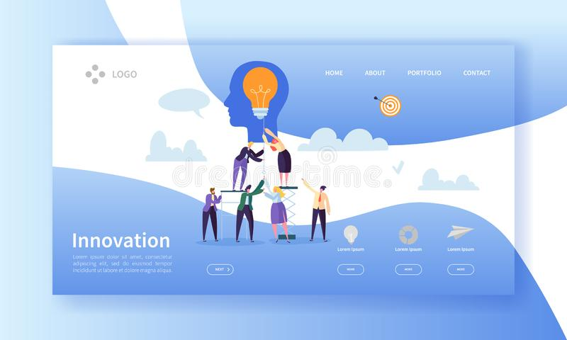 Geschäfts-Innovations-Landungs-Seiten-Schablone Kreativer Ideen-Website-Plan mit flachen Leute-Charakteren und Glühlampe lizenzfreie abbildung