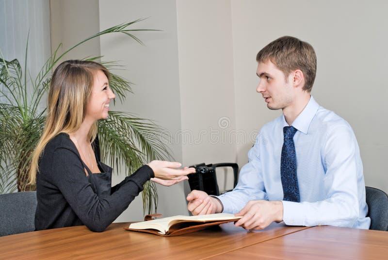 Geschäfts-Interview stockfotografie