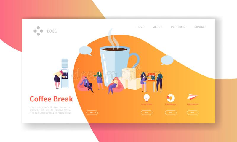 Geschäfts-Kaffeepause-Landungs-Seite Mittagspause-Fahne mit flacher Leute-Charakter-Website-Schablone Einfach bearbeiten Sie vektor abbildung