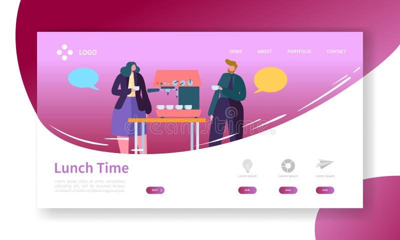 Geschäfts-Kaffeepause-Landungs-Seite Mittagspause-Fahne mit flacher Leute-Charakter-Website-Schablone Einfach bearbeiten Sie stock abbildung