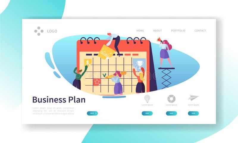Geschäfts-Kalender-Plan-Landungs-Seiten-Schablone Zeitplan-Konzept mit den Charakteren, die mit Planer-flacher Leute-Teamwork arb vektor abbildung
