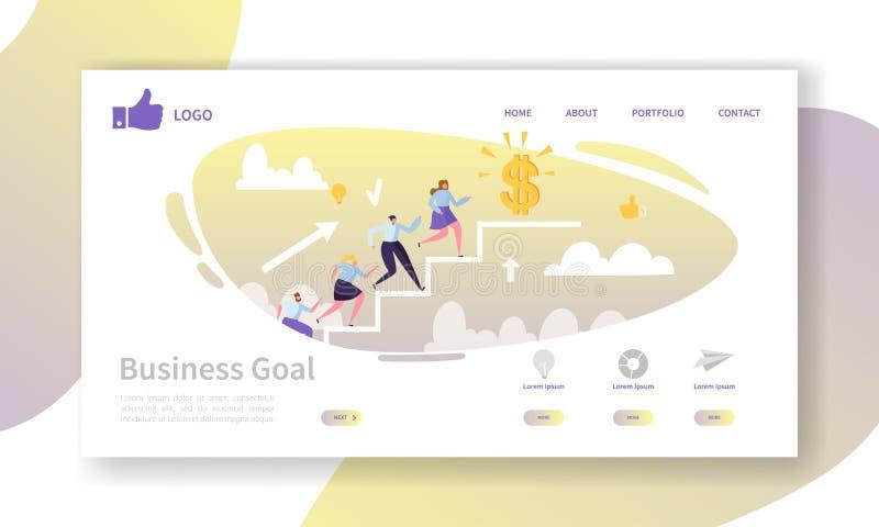 Geschäfts-Karriere-Landungs-Seiten-Schablone Website-Plan mit den flachen Leute-Charakteren, die zum Erfolg gehen Einfach zu redi lizenzfreie abbildung
