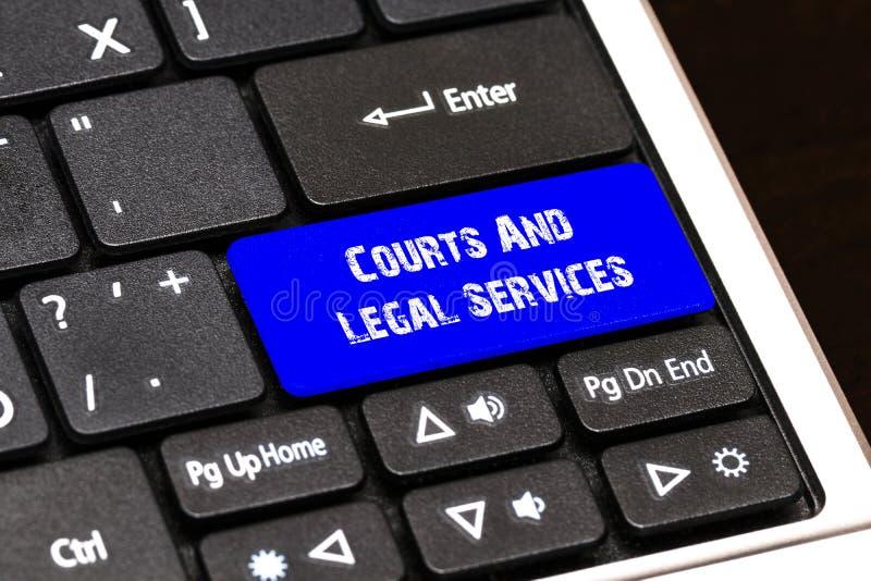 Geschäfts-Konzept - blaue Gerichte und Rechtsdienstleistungen-Knopf auf dünnem lizenzfreie abbildung