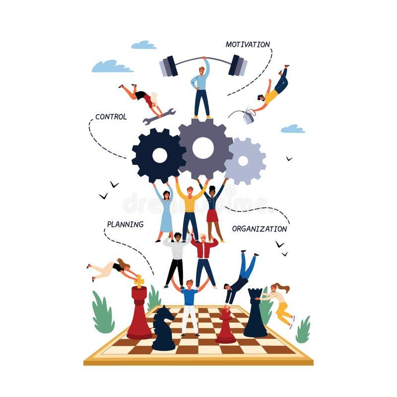 Geschäfts-Konzept des Managements, der Motivation, der Organisation und der Planung stock abbildung