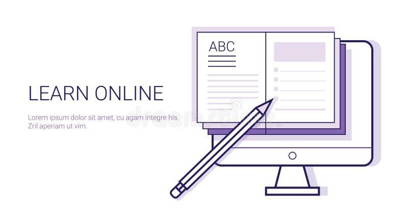 Geschäfts-Konzept Elearning-Bildungs-Schablonen-Netz-Fahne Learing on-line-mit Kopien-Raum stock abbildung