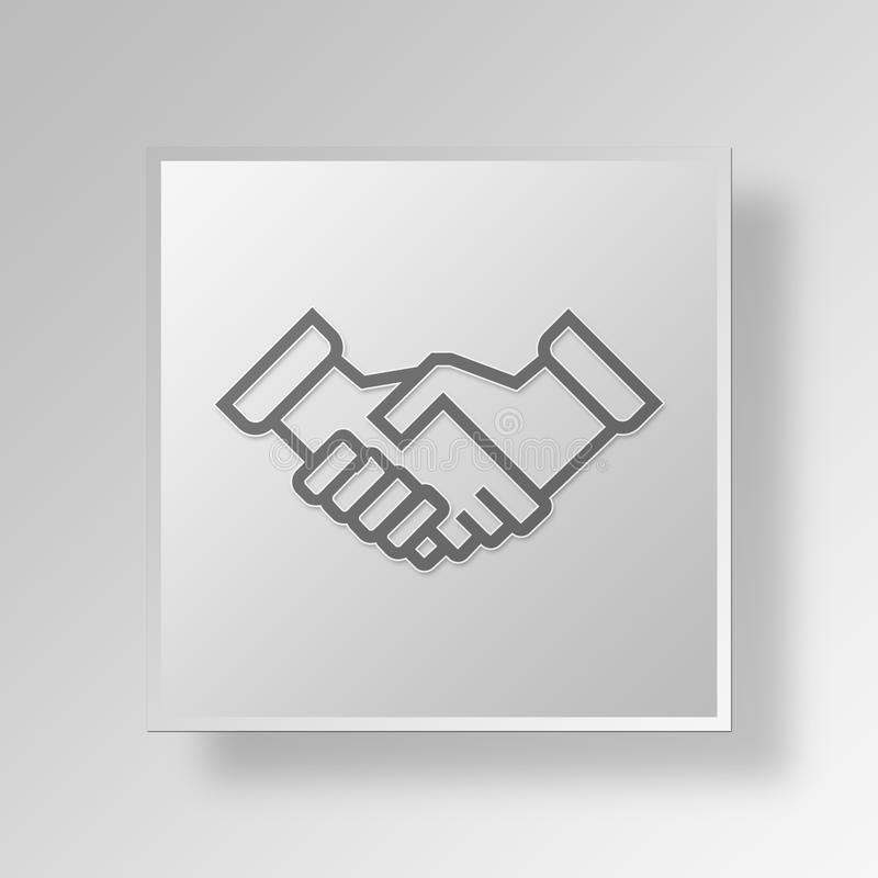 Geschäfts-Konzept Ikone des Händedrucks 3D lizenzfreie abbildung