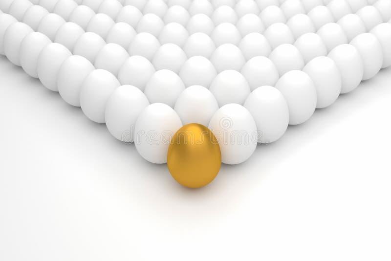Geschäfts-Konzept mit goldenem Ei Wiedergabe 3d lizenzfreie abbildung