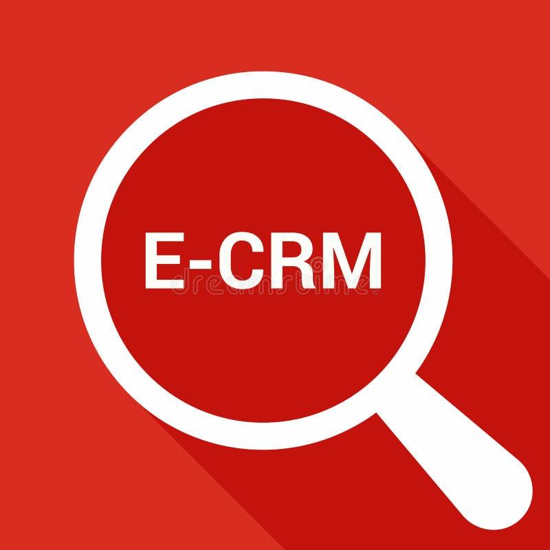 Geschäfts-Konzept: Optisches Vergrößerungsglas mit Wörtern E-CRM lizenzfreie abbildung