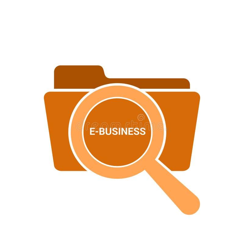 Geschäfts-Konzept: Optisches Vergrößerungsglas mit Wort-E-Business lizenzfreie abbildung