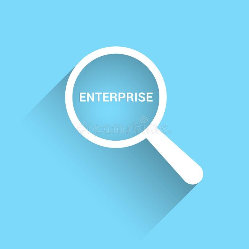 Geschäfts-Konzept: Optisches Vergrößerungsglas mit Wort-Unternehmen lizenzfreie abbildung