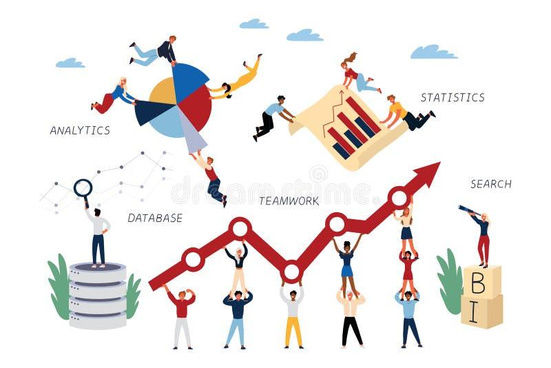Geschäfts-Konzept von Handelsnachrichten, Analytics, Teamwork, Statistiken, Suche, Datenbank lizenzfreie abbildung