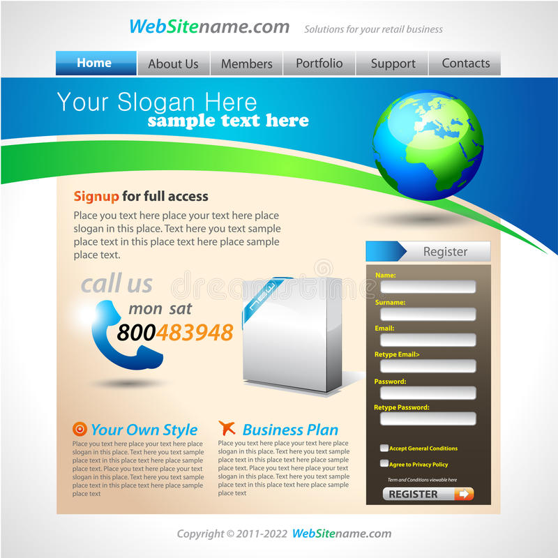 Geschäfts-Lösungs-site-Schablone lizenzfreie abbildung